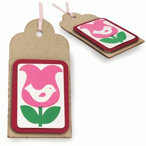 birdie in a tulip gift card tag