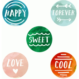 printable watercolor word accents