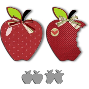 set of 2 apple shape cards