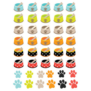 dog dish & paws planning stickers