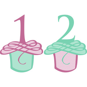 flourished cupcake numbers 1 and 2