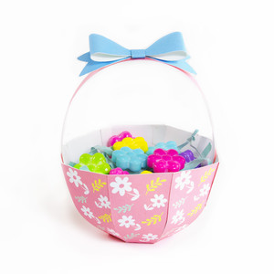 pink flowers basket