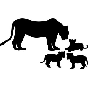 lioness with babies lions silhouette