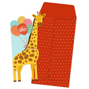 giraffe birthday card and envelope