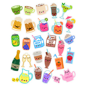 kawaii drinks sticker set