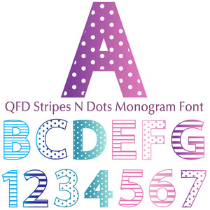 qfd stripes n dots monogram font