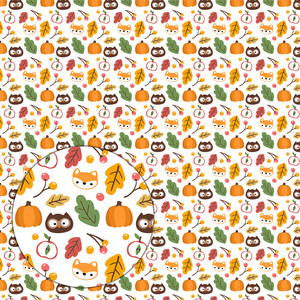 autumn pattern with owls, foxes, pumpkins