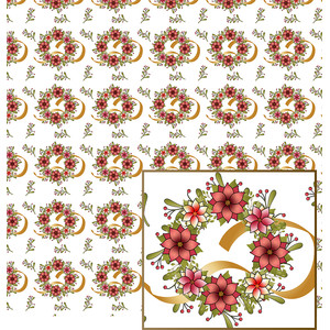 pink colors christmas wreath pattern