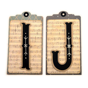 initial i j stitched pocket tag or card