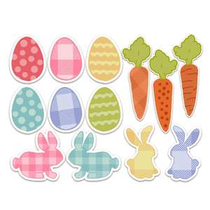 eggs, bunny, carrot stickers