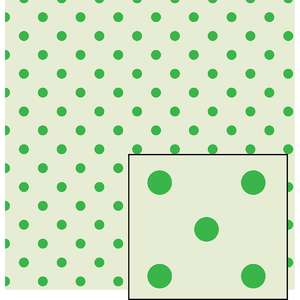 cream and green larger polka dot pattern