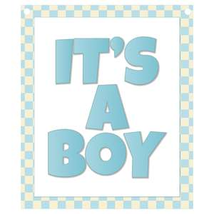it's a boy banner piece - blue gingham frame
