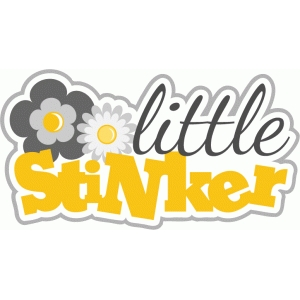 little stinker title phrase with flowers