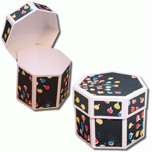 3d heptagon box with hinged lid