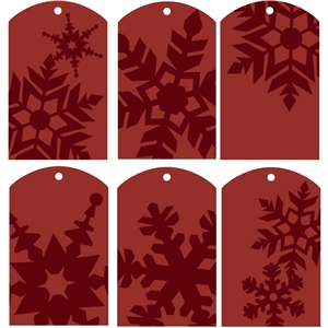 gift tags - snowflakes red