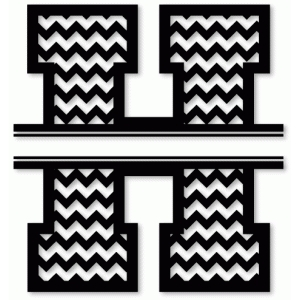 chevron split monogram h