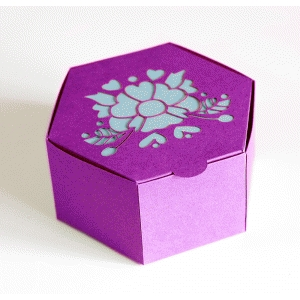 hexagon hinge top box with large flower & hearts