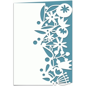 wild flowers lace edged 7x5 papercut card