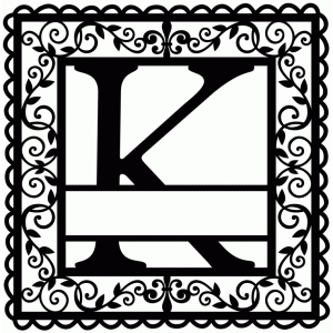 wrought iron vine initial k