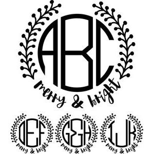 monogram basic - merry & bright wreath