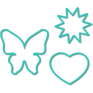 outline butterfly - heart set