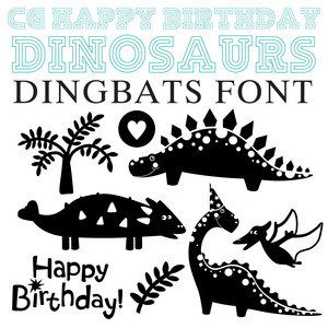 cg happy birthday dinosaurs dingbats