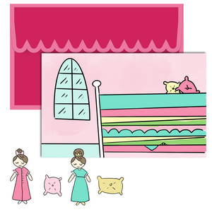 paper doll scene set - princess and the pea