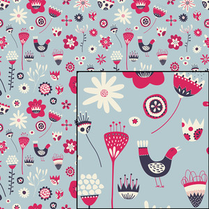 scandinavian blue folk floral seamless pattern