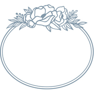 flower oval monogram frame