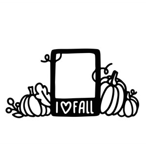 i love fall photo frame with pumpkins