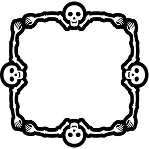 skeleton square halloween frame
