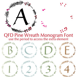 qfd pine wreath monogram font