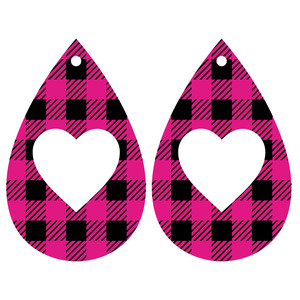 heart buffalo check earrings