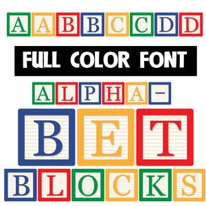 alphabet blocks color font