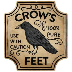 crow's feet potion label