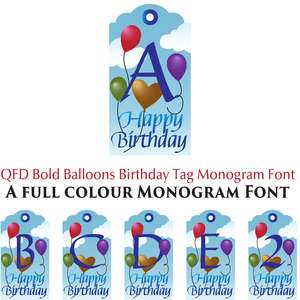 qfd bold balloon birthday tag colour monogram font