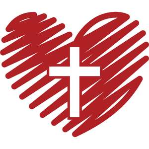 scribbled heart and cross