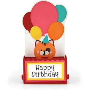 rectangle pop up card birthday cat