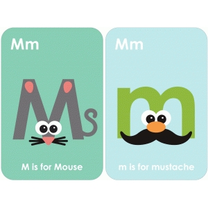 letter 'm' flashcard