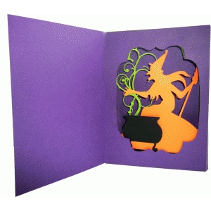 halloween diorama card - witch