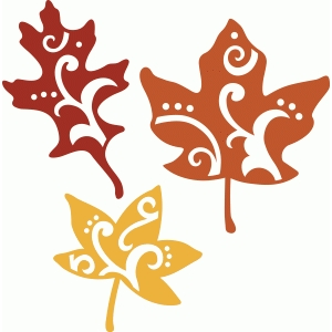 3 flourished fall leaf set