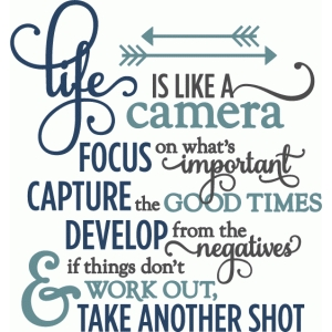 life is like a camera - layered phrase