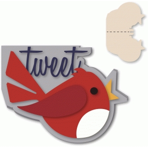 "birdie shaped ""tweet"" a-2 card"