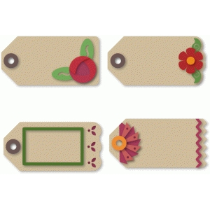 tags 4 large floral