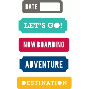 travel cutout word labels