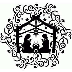 nativity with flourishes