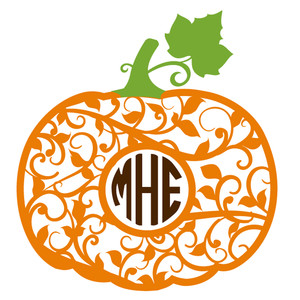 flourish pumpkin monogram frame