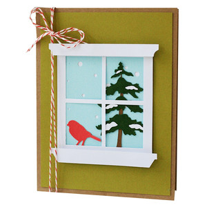 winter scene window pane card