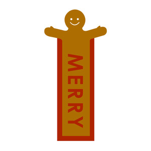 gingerbread bookmark: merry