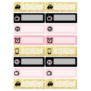 pink & gold planning icons labels